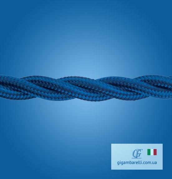 Кабель електричний. Колір – синій. Шовкове обплетення. Подвійна ПВХ ізоляція мідних жил.