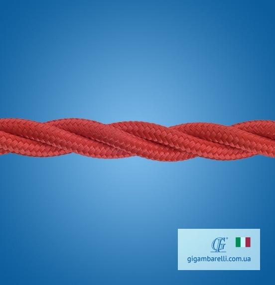 Кабель електричний. Колір – червоний. Шовкове обплетення. Подвійна ПВХ ізоляція мідних жил.
