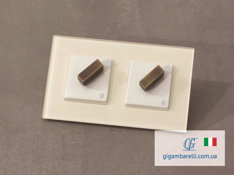 Порцелянові квадратні вимикачі BRICK (gold) серія Arreda