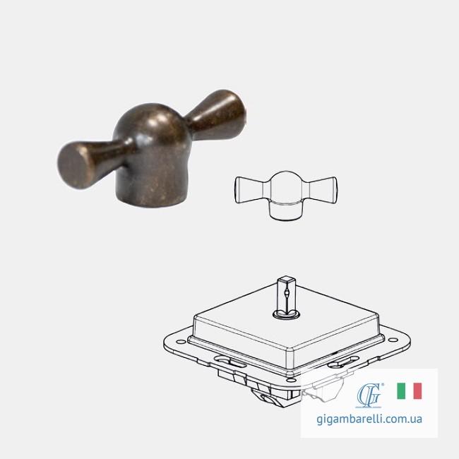 Порцеляновий квадратний вимикач BUTTERFLY (бронза) серія Arreda