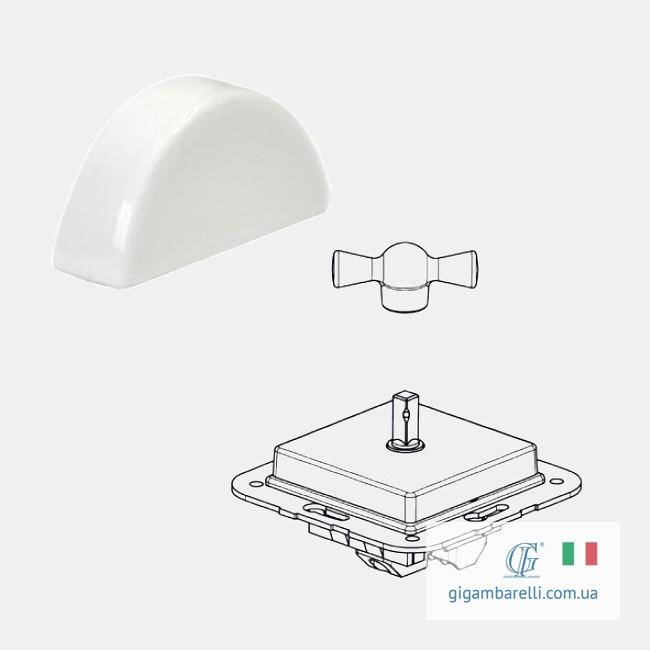 Порцеляновий квадратний вимикач MOON (білий) серія Arreda