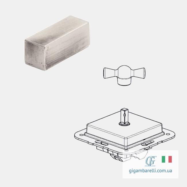 Порцеляновий квадратний вимикач BRICK (хром) серія Arreda