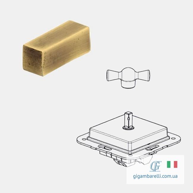 Порцеляновий квадратний вимикач BRICK (золото) серія Arreda