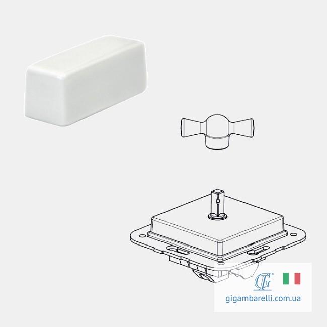 Порцеляновий квадратний вимикач BRICK (білий) серія Arreda