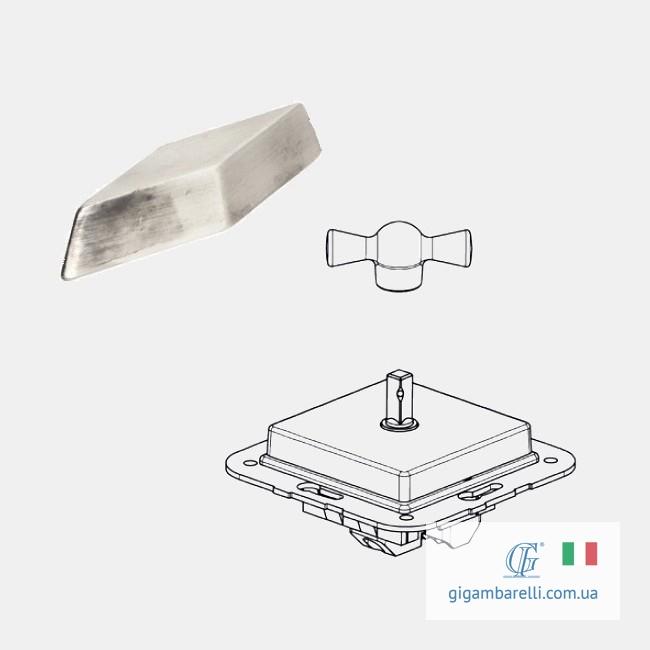 Порцеляновий квадратний вимикач COMPASS (хром) серія Arreda