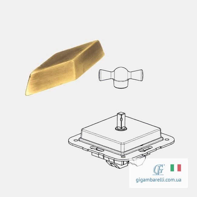Порцеляновий квадратний вимикач COMPASS (старе золото) - серія Arreda
