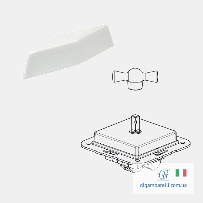 Порцеляновий квадратний вимикач COMPASS (білий) серія Arreda