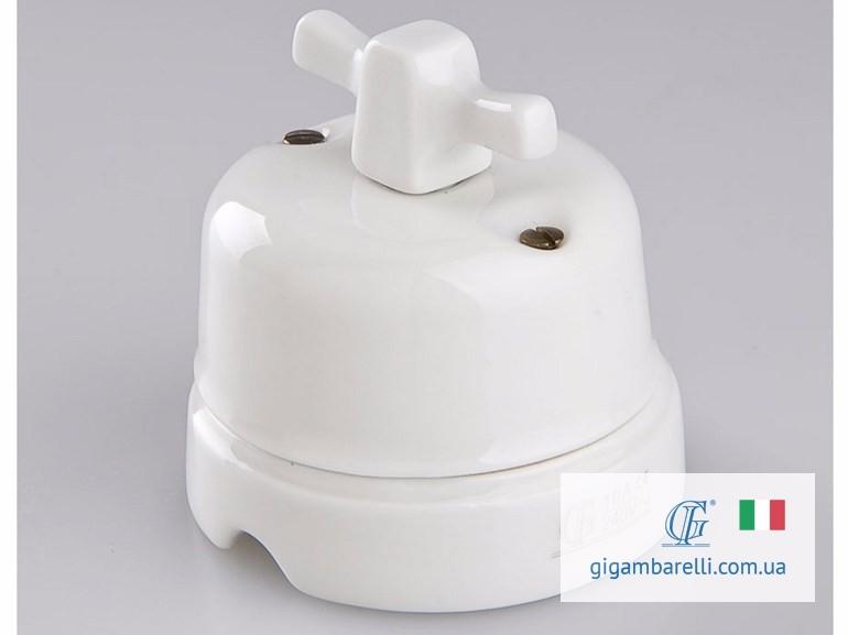 Порцеляновий модерн вимикач MODERN (білий) серія White Italy