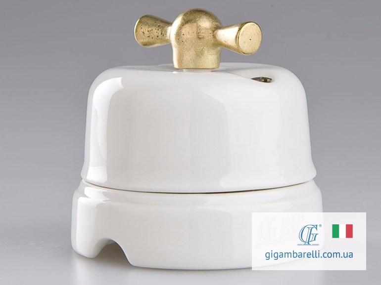 Порцеляновий ретро вимикач CLASSIC (gold) серія White Italy