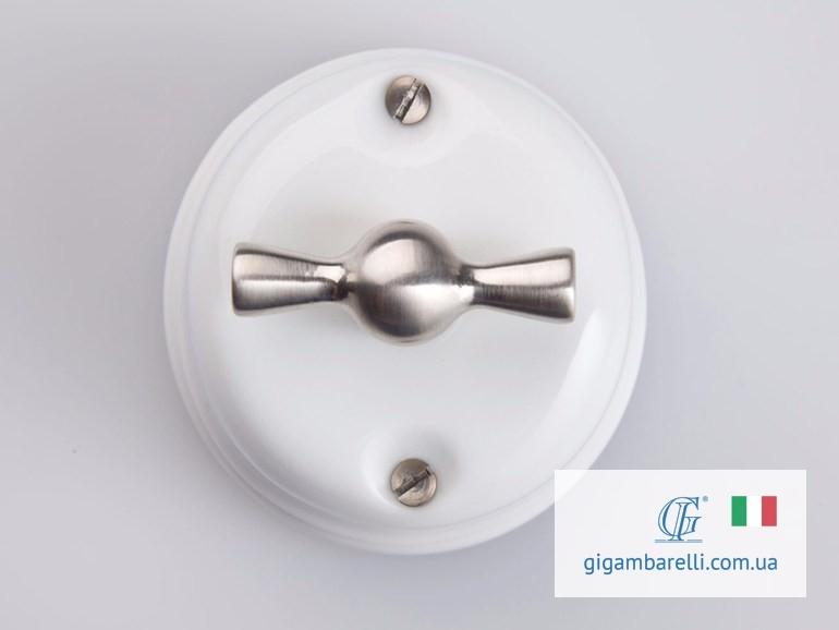 Порцеляновий ретро вимикач CLASSIC (chrome) серія White Italy