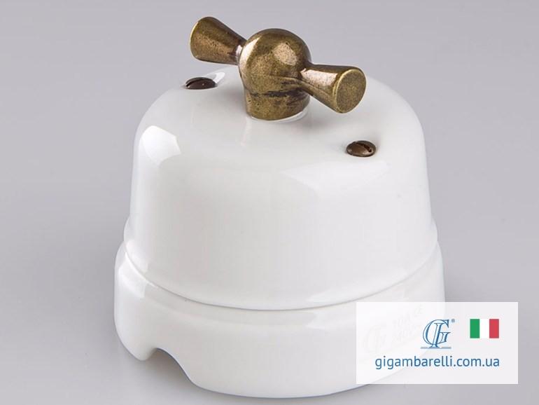 Порцеляновий ретро вимикач CLASSIC (bronze) серія White Italy