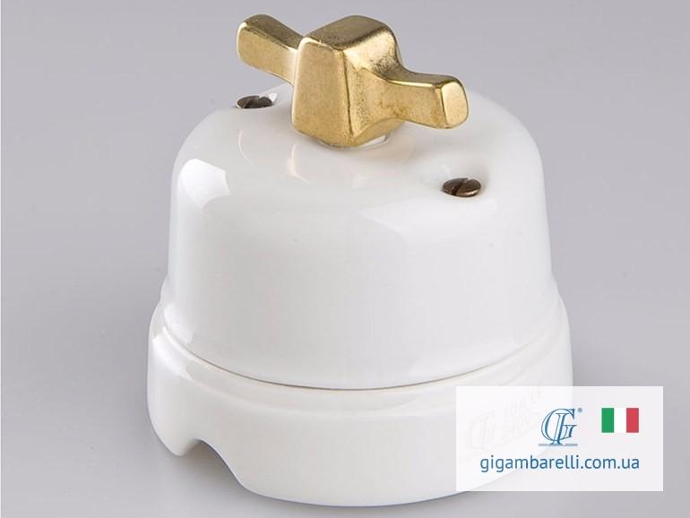 Фарфоровый модерн выключатель MODERN (gold) серия White Italy