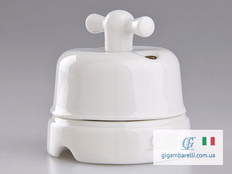 Порцеляновий ретро вимикач CLASSIC (білий) серія White Italy