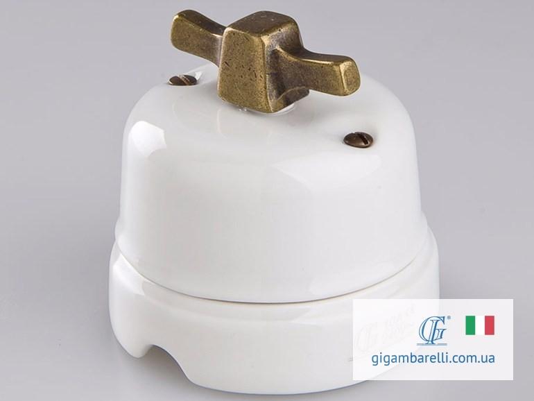 Порцеляновий модерн вимикач MODERN (copper) серія White Italy